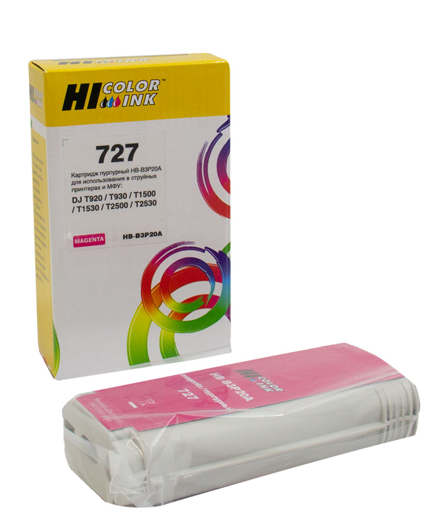 Картридж Hi-Black (B3P20A) для HP DJ T920/T1500, Magenta, №727, 130 мл
