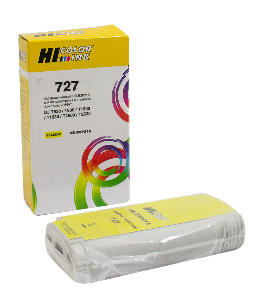 Картридж Hi-Black (B3P21A) для HP DJ T920/T1500, Yellow, №727, 130 мл