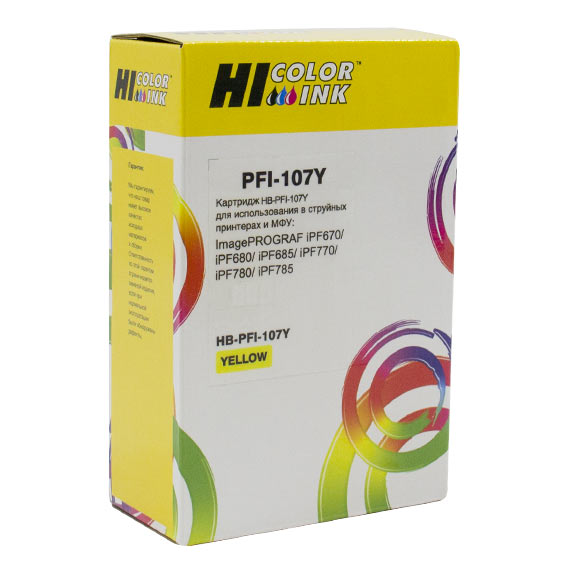 Картридж Hi-Black (PFI-107Y) для Canon iPF680/685/780/785, Y