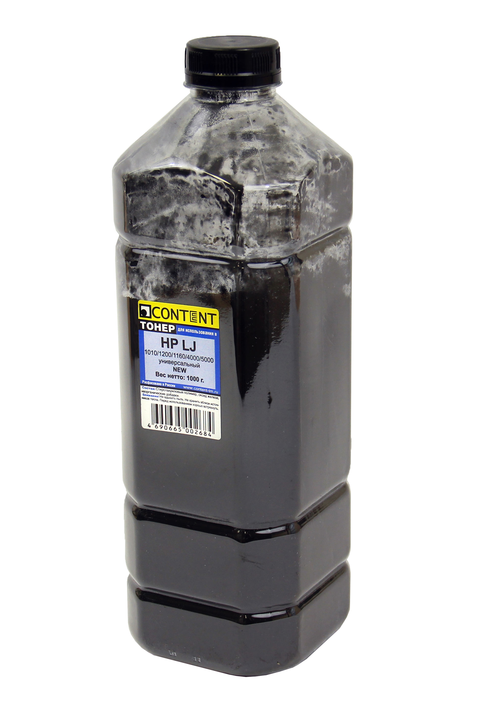 Тонер Content Универсальный для HP LJ 1010/1200/1160/4000/5000, Bk, 1 кг, канистра