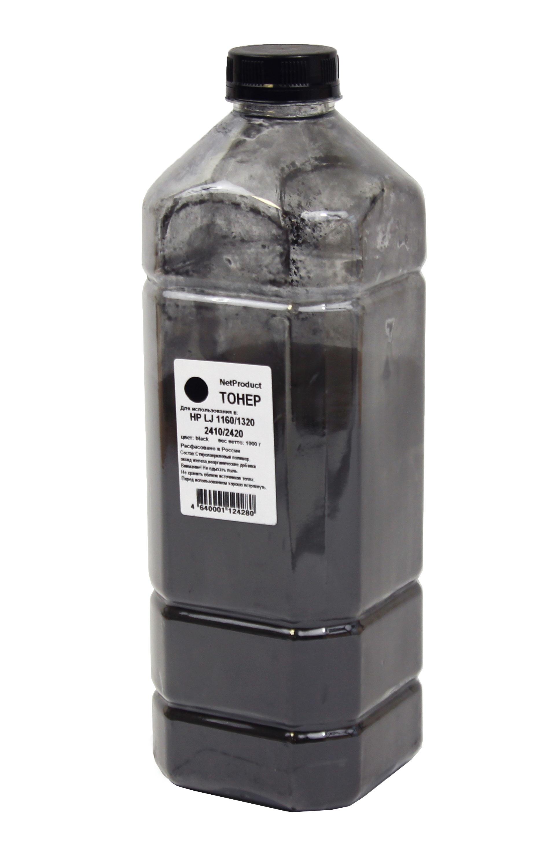 Тонер NetProduct для HP LJ 1160/1320/2410/2420, Bk, 1 кг, канистра